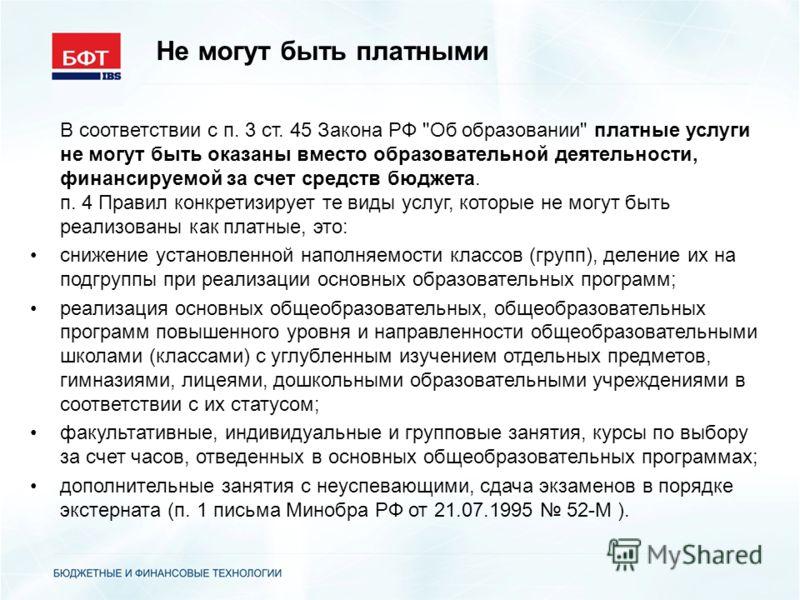 Не могут быть платными В соответствии с п. 3 ст. 45 Закона РФ
