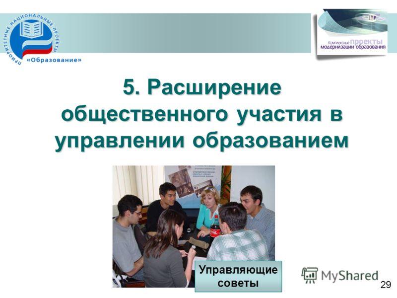 5. Расширение общественного участия в управлении образованием Управляющие советы 29