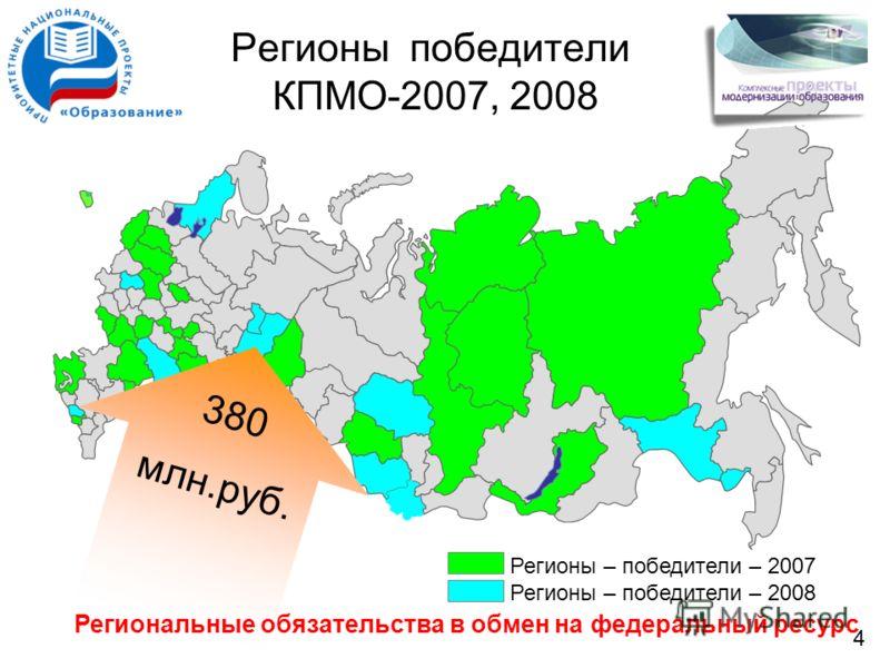 Регионы – победители – 2007 Регионы – победители – 2008 Регионы победители КПМО-2007, 2008 380 млн.руб. Региональные обязательства в обмен на федеральный ресурс 4
