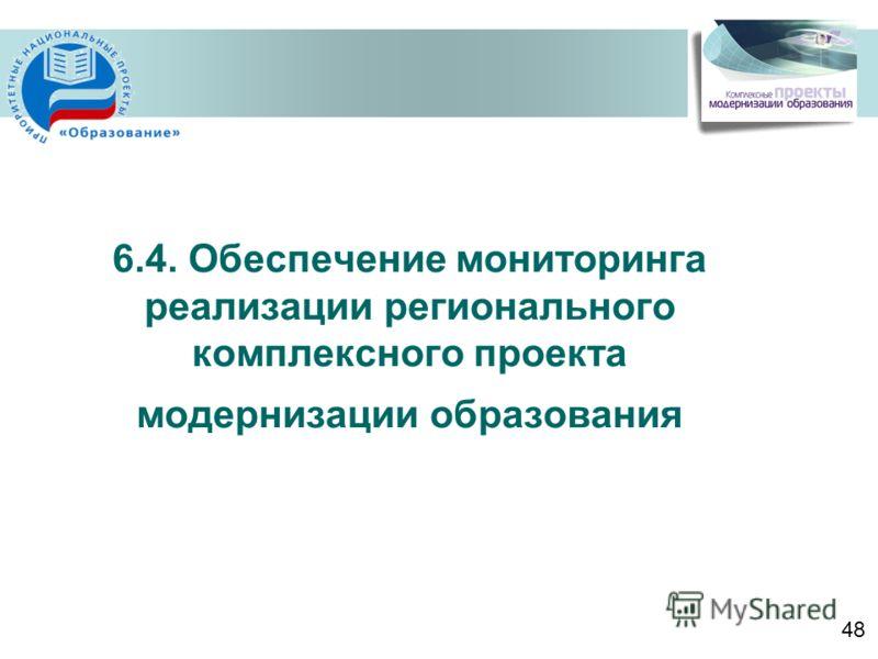 6.4. Обеспечение мониторинга реализации регионального комплексного проекта модернизации образования 48
