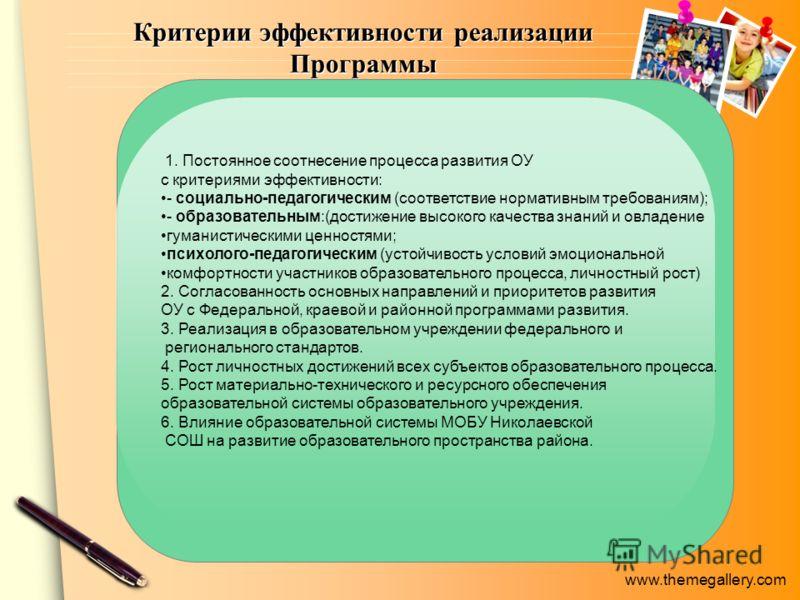 www.themegallery.com Критерии эффективности реализации Программы 1. Постоянное соотнесение процесса развития ОУ с критериями эффективности: - социально-педагогическим (соответствие нормативным требованиям); - образовательным:(достижение высокого каче