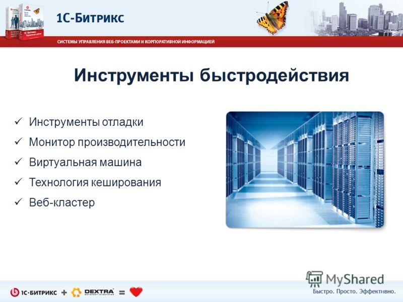 Инструменты отладки Монитор производительности Виртуальная машина Технология кеширования Веб-кластер Инструменты быстродействия