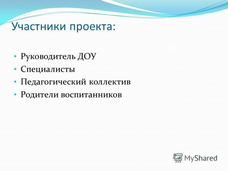 Участники проекта: Руководитель ДОУ Специалисты Педагогический коллектив Родители воспитанников