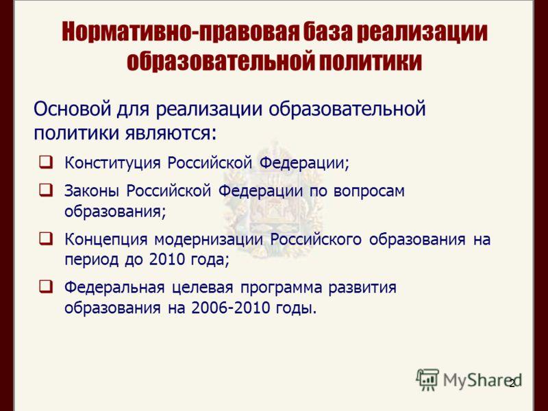 2 Нормативно-правовая база реализации образовательной политики Конституция Российской Федерации; Законы Российской Федерации по вопросам образования; Концепция модернизации Российского образования на период до 2010 года; Федеральная целевая программа