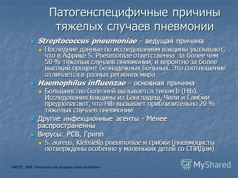 Патогенспецифичные причины тяжелых случаев пневмонии Streptococcus pneumoniae – ведущая причина Streptococcus pneumoniae – ведущая причина Последние данные по исследованиям вакцины указывают, что в Африке S. Pneumoniae ответственна за более чем 50 %