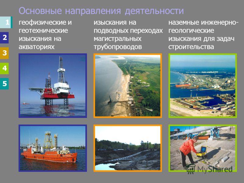 1 2 3 4 5 Основные направления деятельности наземные инженерно- геологические изыскания для задач строительства изыскания на подводных переходах магистральных трубопроводов геофизические и геотехнические изыскания на акваториях