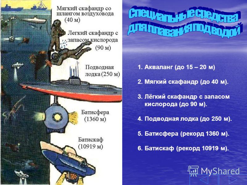 1. Акваланг (до 15 – 20 м) 2. Мягкий скафандр (до 40 м). 3. Лёгкий скафандр с запасом кислорода (до 90 м). 4. Подводная лодка (до 250 м). 5. Батисфера (рекорд 1360 м). 6. Батискаф (рекорд 10919 м).