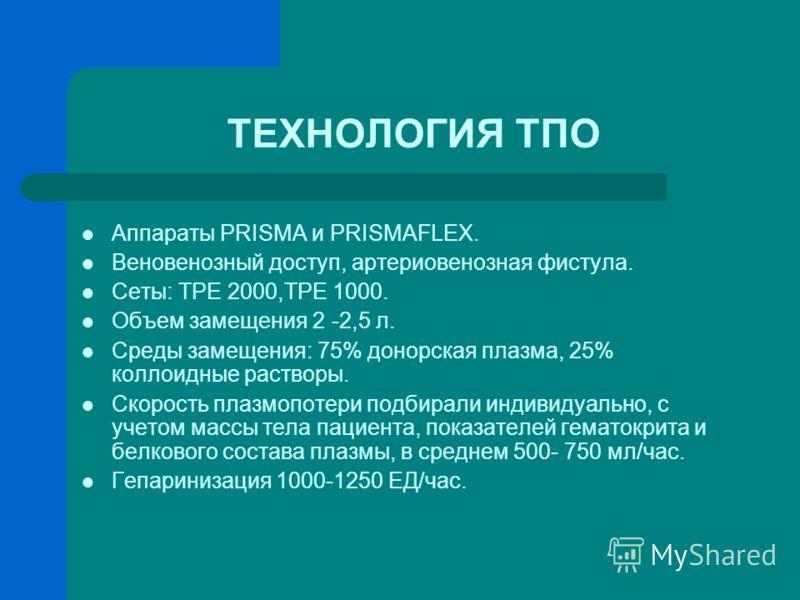 ТЕХНОЛОГИЯ ТПО Аппараты PRISMA и PRISMAFLEX. Веновенозный доступ, артериовенозная фистула. Сеты: TPE 2000,TPE 1000. Объем замещения 2 -2,5 л. Среды замещения: 75% донорская плазма, 25% коллоидные растворы. Скорость плазмопотери подбирали индивидуальн