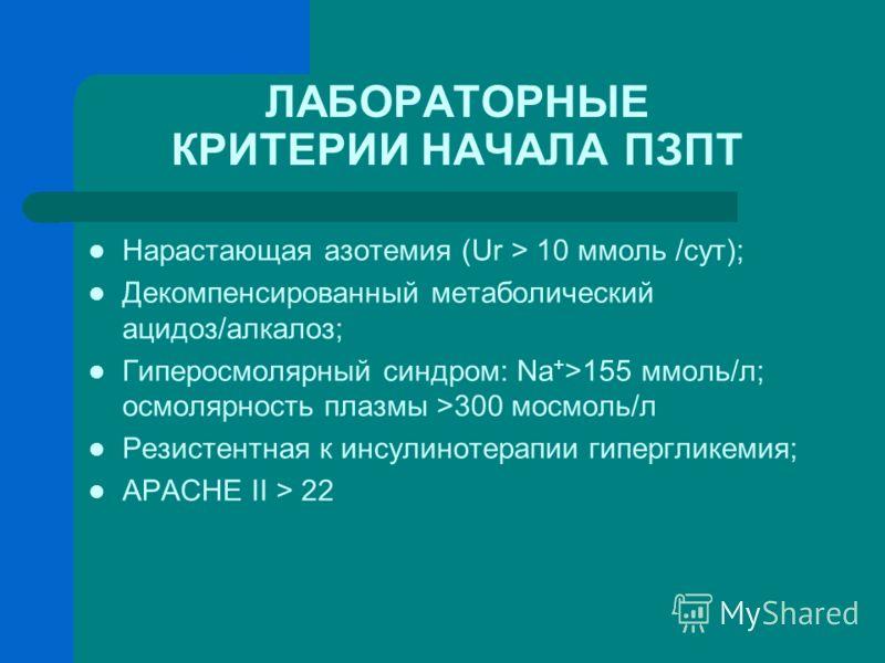 ЛАБОРАТОРНЫЕ КРИТЕРИИ НАЧАЛА ПЗПТ Нарастающая азотемия (Ur > 10 ммоль /сут); Декомпенсированный метаболический ацидоз/алкалоз; Гиперосмолярный синдром: Na + >155 ммоль/л; осмолярность плазмы >300 мосмоль/л Резистентная к инсулинотерапии гипергликемия