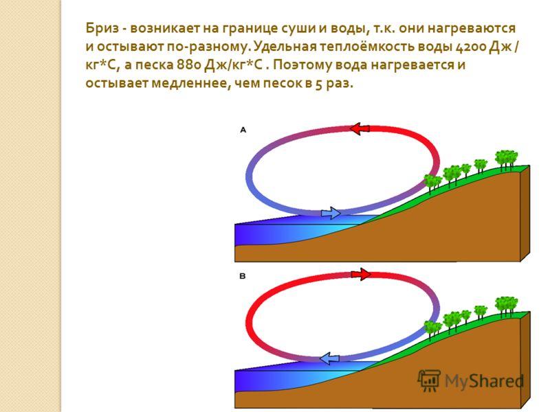 Бриз - возникает на границе суши и воды, т. к. они нагреваются и остывают по - разному. Удельная теплоёмкость воды 4200 Дж / кг * С, а песка 880 Дж / кг * С. Поэтому вода нагревается и остывает медленнее, чем песок в 5 раз.