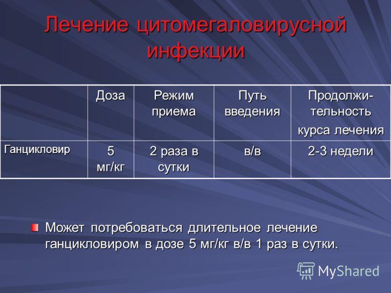 Виферон при цитомегаловирусной инфекции схема лечения