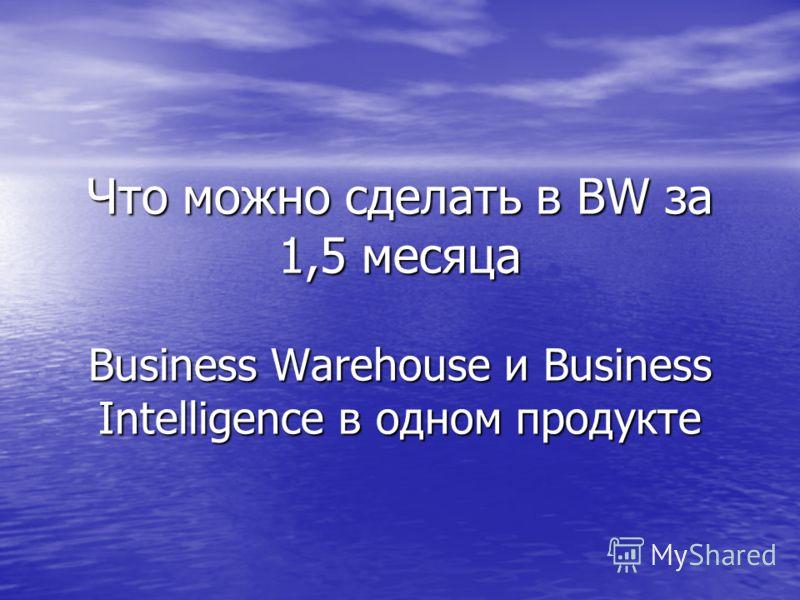 Что можно сделать в BW за 1,5 месяца Business Warehouse и Business Intelligence в одном продукте