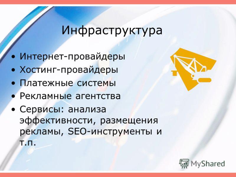 Инфраструктура Интернет-провайдеры Хостинг-провайдеры Платежные системы Рекламные агентства Сервисы: анализа эффективности, размещения рекламы, SEO-инструменты и т.п.