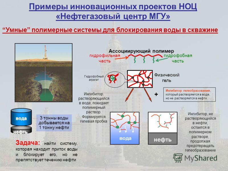 Физический гель Гидрофобный агрегат нефть вода Ингибитор, не растворяющийся в нефти, остается в полимерном растворе, продолжая предотвращать гелеобразование Ингибитор, растворяющийся в воде, покидает полимерный раствор. Формируется гелевая пробка гид