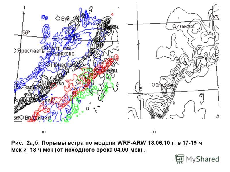 Рис. 2a,б. Порывы ветра по модели WRF-ARW 13.06.10 г. в 17-19 ч мск и 18 ч мск (от исходного срока 04.00 мск). a)б)б)