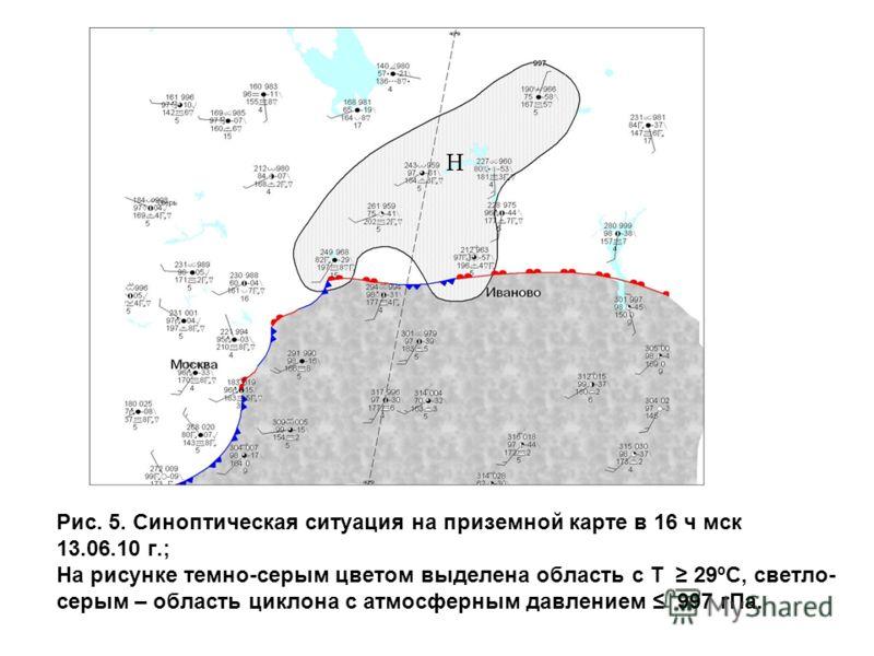 Рис. 5. Синоптическая ситуация на приземной карте в 16 ч мск 13.06.10 г.; На рисунке темно-серым цветом выделена область с Т 29ºС, светло- серым – область циклона с атмосферным давлением 997 гПа. Н