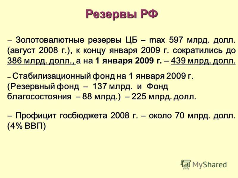 Резервы РФ – Золотовалютные резервы ЦБ – max 597 млрд. долл. (август 2008 г.), к концу января 2009 г. сократились до 386 млрд. долл., а на 1 января 2009 г. – 439 млрд. долл. – Стабилизационный фонд на 1 января 2009 г. (Резервный фонд – 137 млрд. и Фо