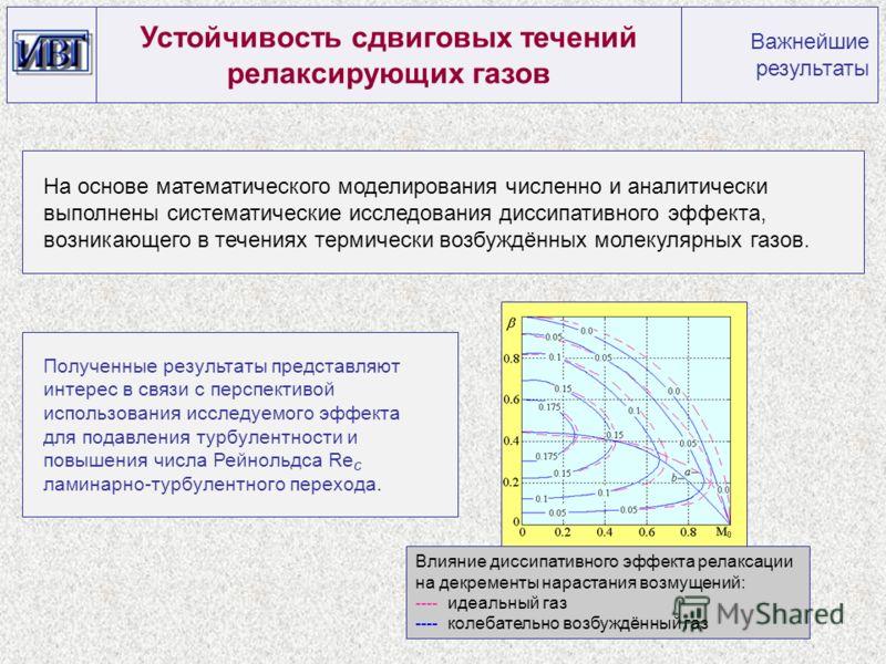 На основе математического моделирования численно и аналитически выполнены систематические исследования диссипативного эффекта, возникающего в течениях термически возбуждённых молекулярных газов. Устойчивость сдвиговых течений релаксирующих газов Важн