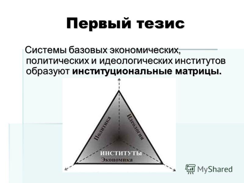 Первый тезис Системы базовых экономических, политических и идеологических институтов образуют институциональные матрицы. Системы базовых экономических, политических и идеологических институтов образуют институциональные матрицы.