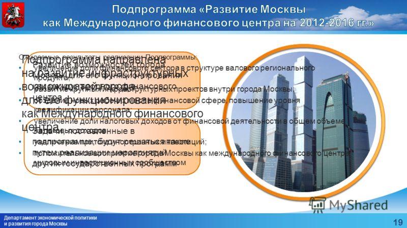 Департамент экономической политики и развития города Москвы 19 Развитие возможностей города Москвы для его функционирования как международного финансового центра Задачи, поставленные в подпрограмме, будут решаться также путем реализации мероприятий д