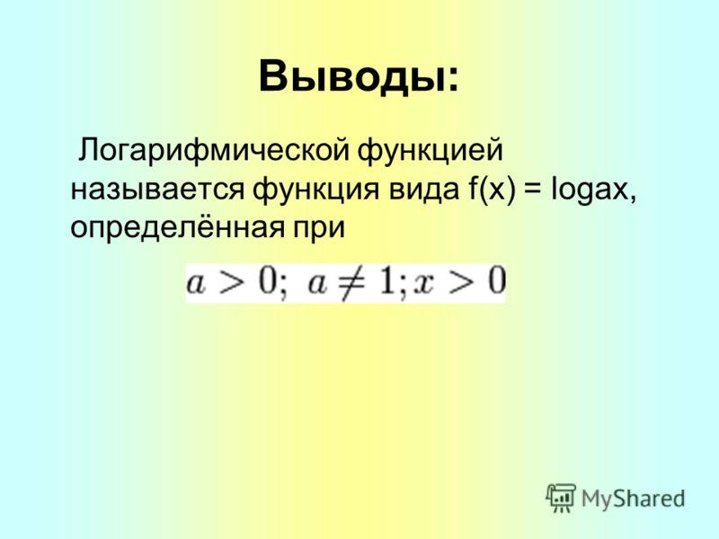 Выводы: Логарифмической функцией называется функция вида f(x) = logax, определённая при