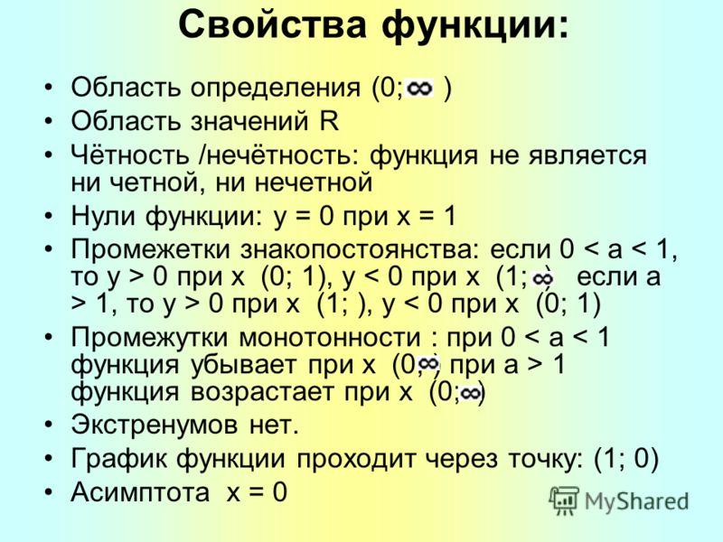 Свойства функции: Область определения (0; ) Область значений R Чётность /нечётность: функция не является ни четной, ни нечетной Нули функции: y = 0 при x = 1 Промежетки знакопостоянства: если 0 < a < 1, то y > 0 при x (0; 1), y < 0 при x (1; ) если a
