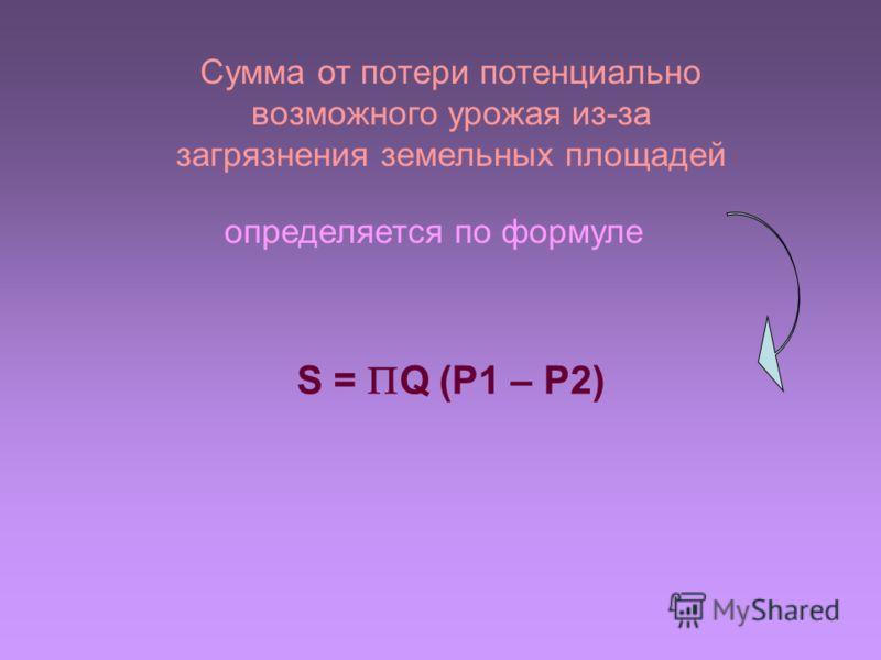 Сумма от потери потенциально возможного урожая из-за загрязнения земельных площадей определяется по формуле S = Q (P1 – P2)