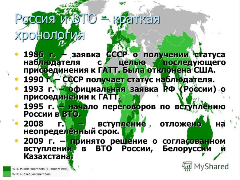 Россия и ВТО – краткая хронология 1986 г. – заявка СССР о получении статуса наблюдателя с целью последующего присоединения к ГАТТ. Была отклонена США. 1986 г. – заявка СССР о получении статуса наблюдателя с целью последующего присоединения к ГАТТ. Бы