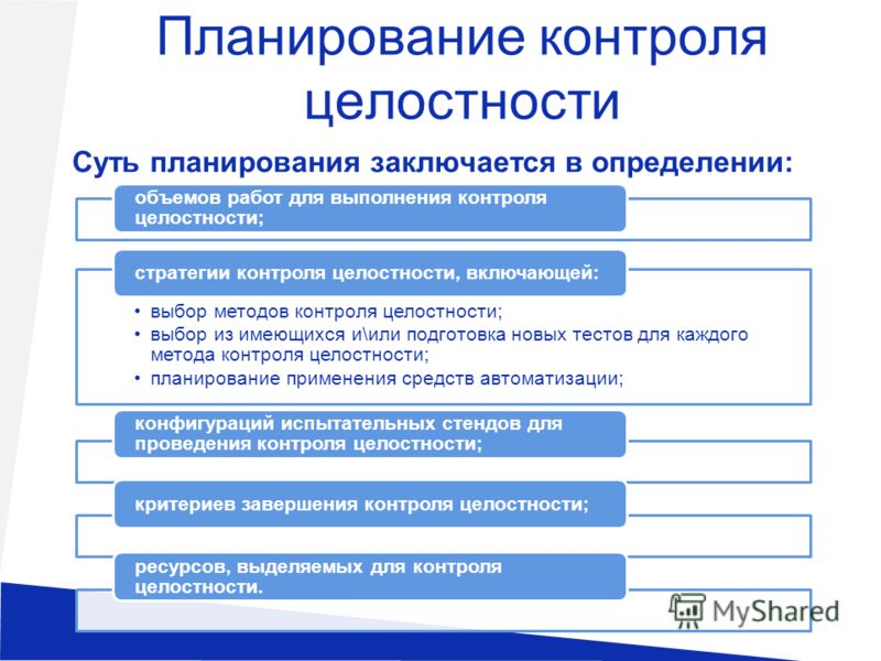 Планирование контроля целостности Суть планирования заключается в определении: объемов работ для выполнения контроля целостности; выбор методов контроля целостности; выбор из имеющихся и\или подготовка новых тестов для каждого метода контроля целостн