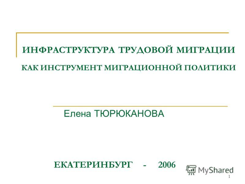 1 ИНФРАСТРУКТУРА ТРУДОВОЙ МИГРАЦИИ КАК ИНСТРУМЕНТ МИГРАЦИОННОЙ ПОЛИТИКИ ЕКАТЕРИНБУРГ - 2006 Елена ТЮРЮКАНОВА