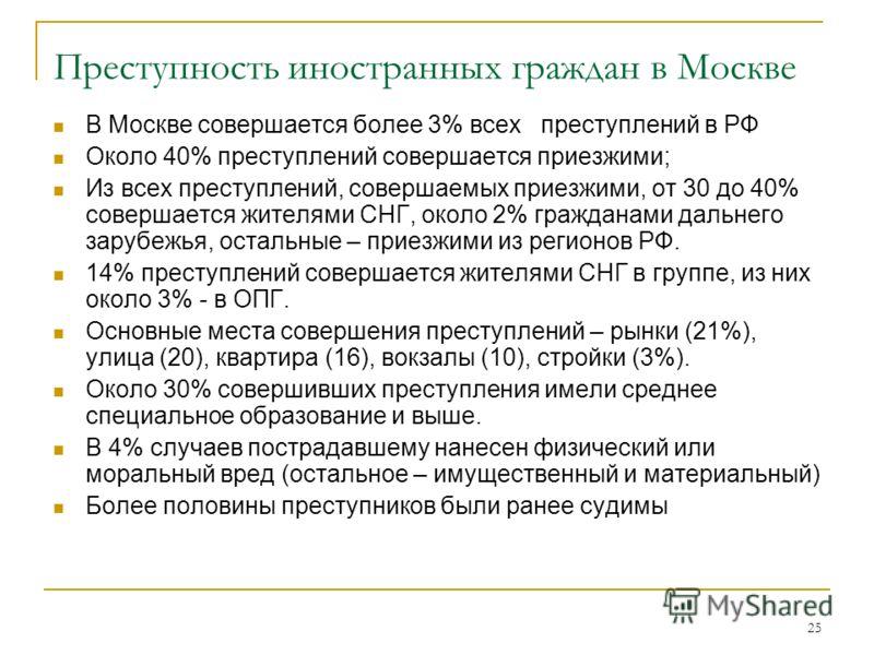 25 Преступность иностранных граждан в Москве В Москве совершается более 3% всех преступлений в РФ Около 40% преступлений совершается приезжими; Из всех преступлений, совершаемых приезжими, от 30 до 40% совершается жителями СНГ, около 2% гражданами да