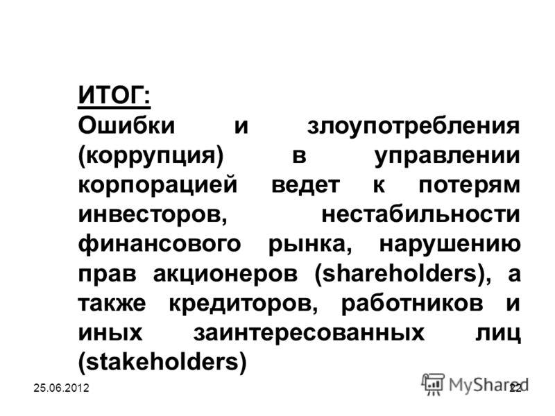 ИТОГ: Ошибки и злоупотребления (коррупция) в управлении корпорацией ведет к потерям инвесторов, нестабильности финансового рынка, нарушению прав акционеров (shareholders), а также кредиторов, работников и иных заинтересованных лиц (stakeholders) 25.0