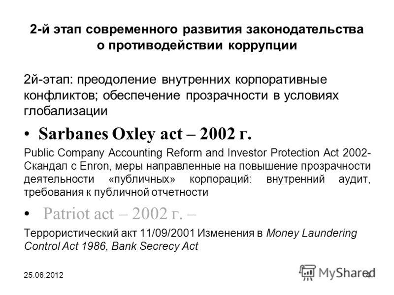 2-й этап современного развития законодательства о противодействии коррупции 2й-этап: преодоление внутренних корпоративные конфликтов; обеспечение прозрачности в условиях глобализации Sarbanes Oxley act – 2002 г. Public Company Accounting Reform and I