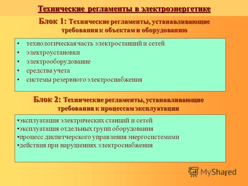 2 Блок 1: Технические регламенты, устанавливающие требования к объектам и оборудованию технологическая часть электростанций и сетей электроустановки электрооборудование средства учета системы резервного электроснабжения Блок 2: Технические регламенты