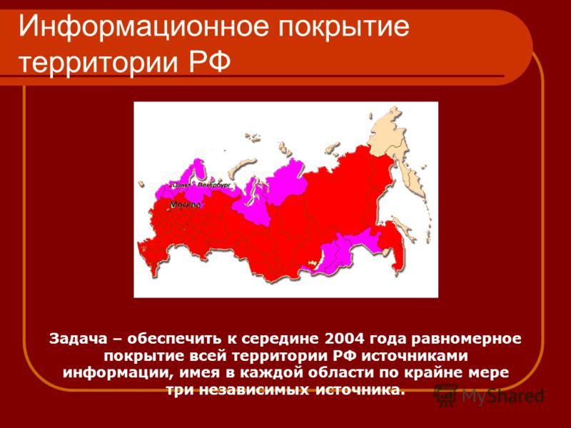 Информационное покрытие территории РФ Задача – обеспечить к середине 2004 года равномерное покрытие всей территории РФ источниками информации, имея в каждой области по крайне мере три независимых источника.