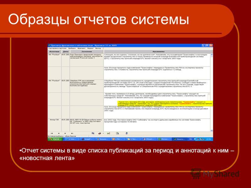 Образцы отчетов системы Отчет системы в виде списка публикаций за период и аннотаций к ним – «новостная лента»