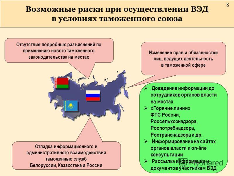 Отсутствие подробных разъяснений по применению нового таможенного законодательства на местах Возможные риски при осуществлении ВЭД в условиях таможенного союза Отладка информационного и административного взаимодействия таможенных служб Белоруссии, Ка