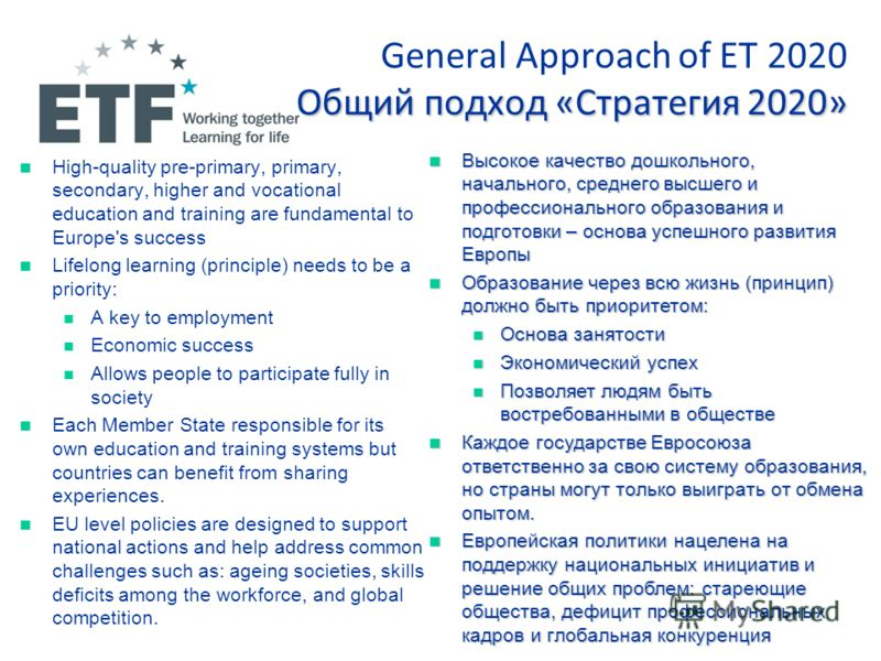 Общий подход «Стратегия 2020» General Approach of ET 2020 Общий подход «Стратегия 2020» High-quality pre-primary, primary, secondary, higher and vocational education and training are fundamental to Europe's success Lifelong learning (principle) needs