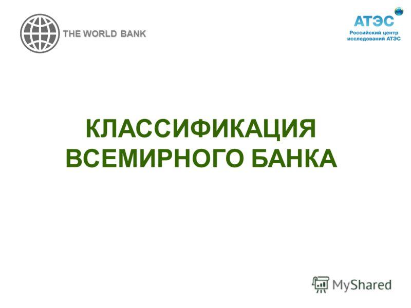 КЛАССИФИКАЦИЯ ВСЕМИРНОГО БАНКА THE WORLD BANK
