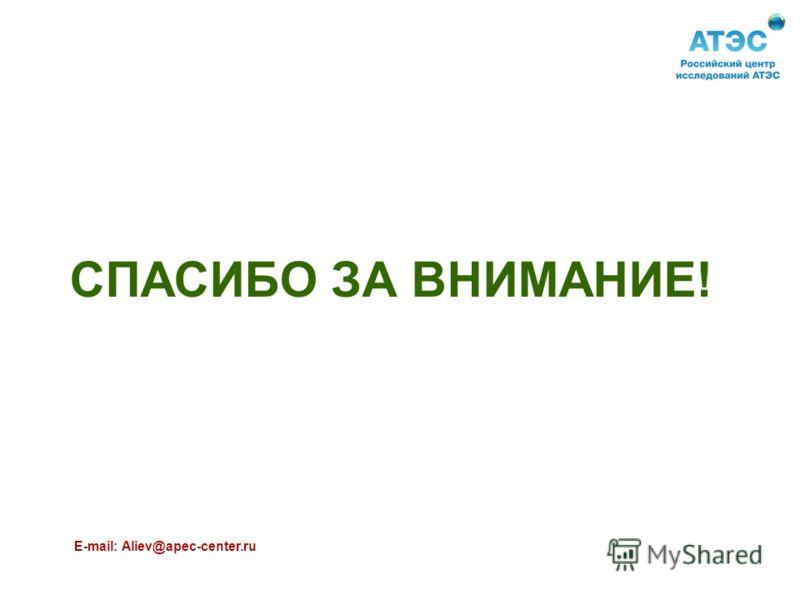 СПАСИБО ЗА ВНИМАНИЕ! E-mail: Aliev@apec-center.ru