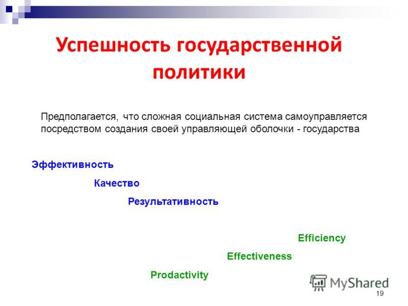 19 Успешность государственной политики Эффективность Качество Результативность Efficiency Effectiveness Prodactivity Предполагается, что сложная социальная система самоуправляется посредством создания своей управляющей оболочки - государства