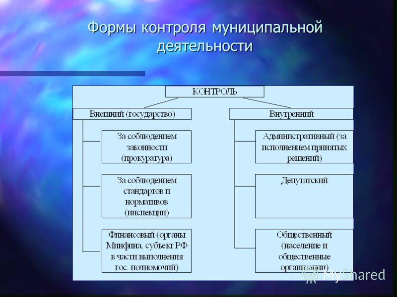 Формы контроля муниципальной деятельности