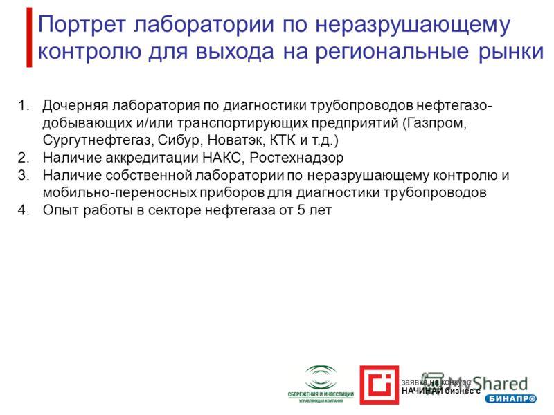 заявка на конкурс: НАЧИНАЙ бизнес с Портрет лаборатории по неразрушающему контролю для выхода на региональные рынки 1.Дочерняя лаборатория по диагностики трубопроводов нефтегазо- добывающих и/или транспортирующих предприятий (Газпром, Сургутнефтегаз,
