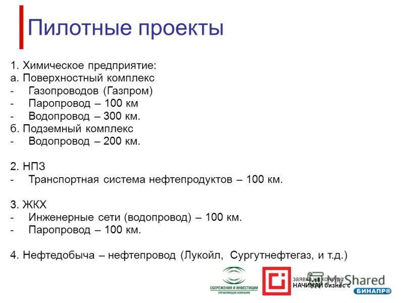 заявка на конкурс: НАЧИНАЙ бизнес с Пилотные проекты 1. Химическое предприятие: а. Поверхностный комплекс -Газопроводов (Газпром) -Паропровод – 100 км -Водопровод – 300 км. б. Подземный комплекс -Водопровод – 200 км. 2. НПЗ -Транспортная система нефт