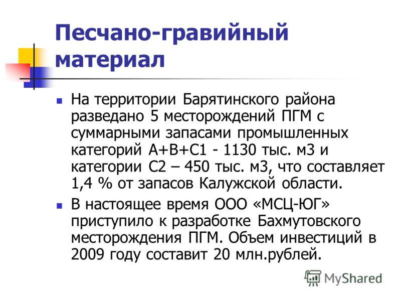 Песчано-гравийный материал На территории Барятинского района разведано 5 месторождений ПГМ с суммарными запасами промышленных категорий А+В+С1 - 1130 тыс. м3 и категории С2 – 450 тыс. м3, что составляет 1,4 % от запасов Калужской области. В настоящее