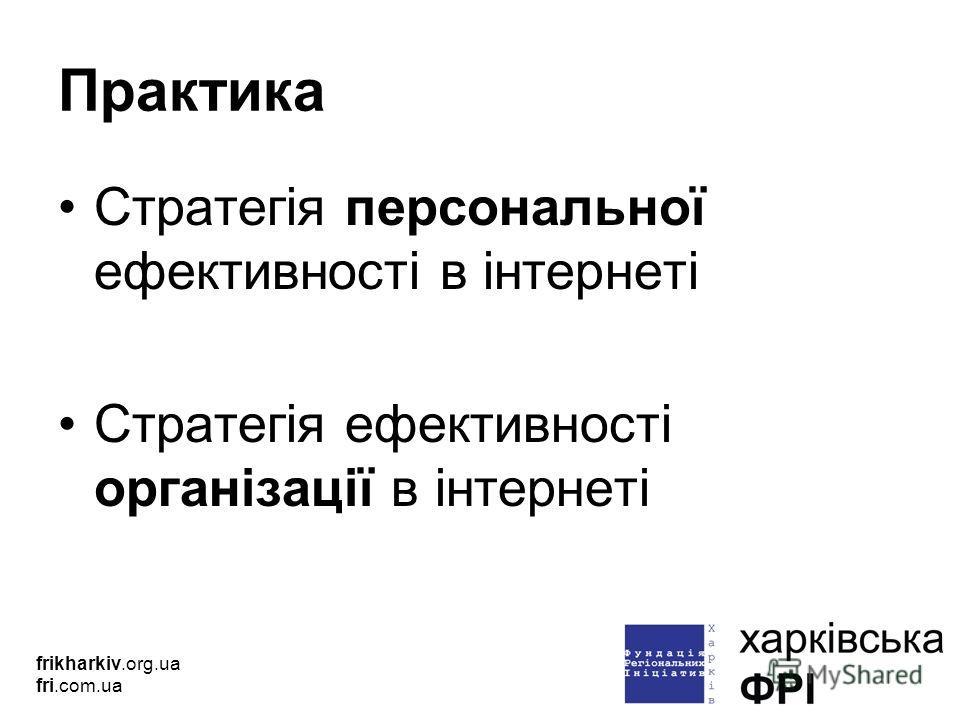Практика Стратегія персональної ефективності в інтернеті Стратегія ефективності організації в інтернеті frikharkiv.org.ua fri.com.ua