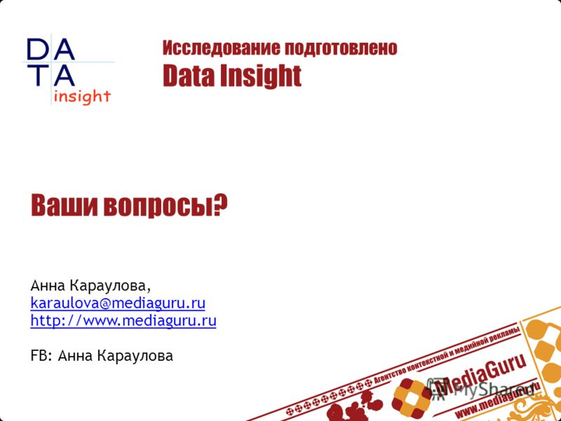 Ваши вопросы? Анна Караулова, karaulova@mediaguru.ru http://www.mediaguru.ru FB: Анна Караулова karaulova@mediaguru.ru http://www.mediaguru.ru Исследование подготовлено Data Insight