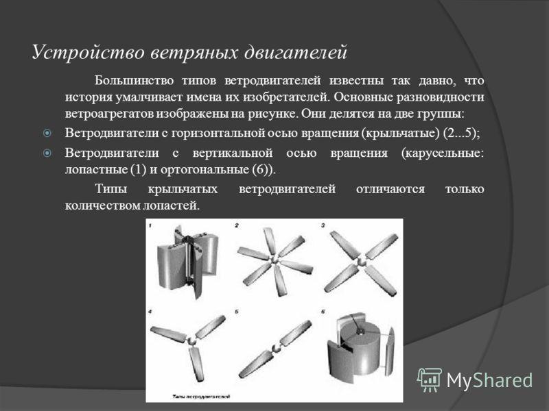 Устройство ветряных двигателей Большинство типов ветродвигателей известны так давно, что история умалчивает имена их изобретателей. Основные разновидности ветроагрегатов изображены на рисунке. Они делятся на две группы: Ветродвигатели с горизонтально