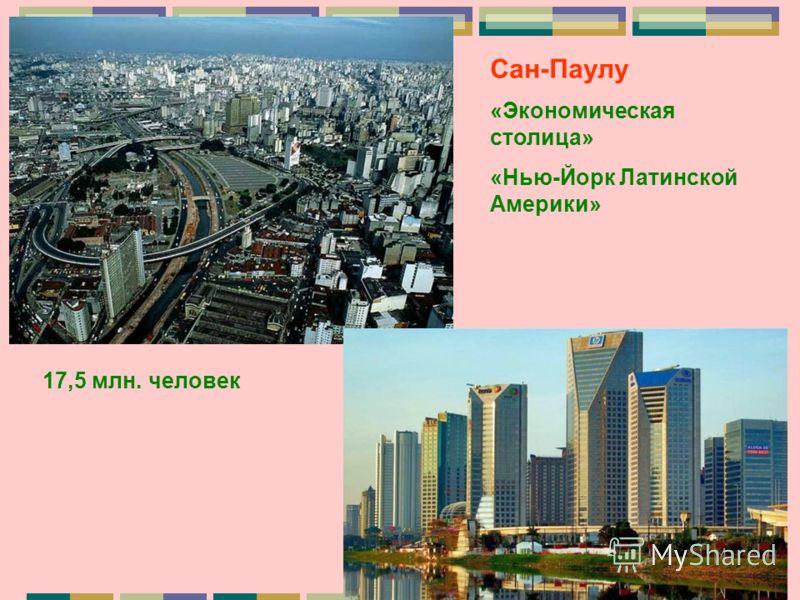 Сан-Паулу «Экономическая столица» «Нью-Йорк Латинской Америки» 17,5 млн. человек