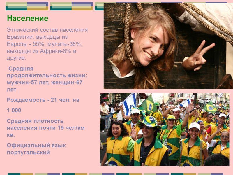 Население Этнический состав населения Бразилии: выходцы из Европы - 55%, мулаты-38%, выходцы из Африки-6% и другие. Средняя продолжительность жизни: мужчин-57 лет, женщин-67 лет Рождаемость - 21 чел. на 1 000 Средняя плотность населения почти 19 чел/